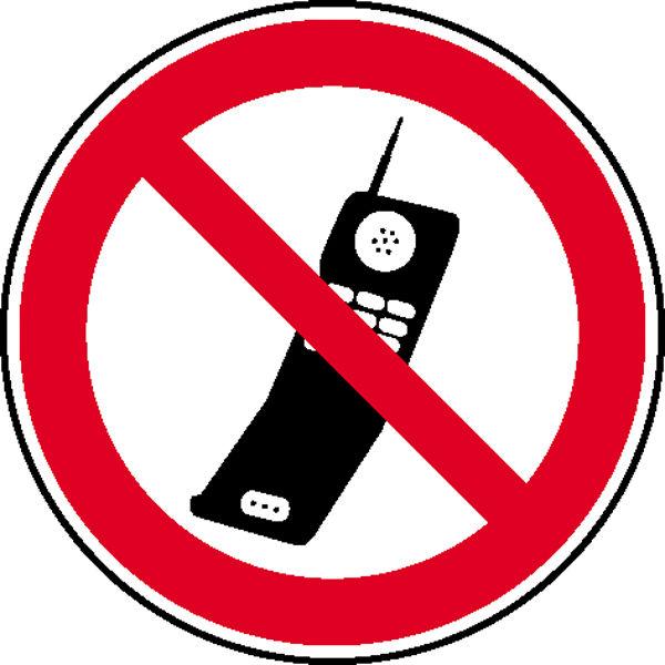 Verbotsschild »Handy benutzen verboten«