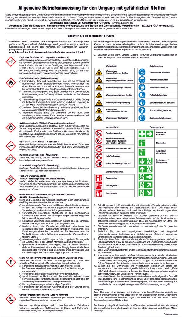 Aushang - Gefahrstoffe »Allgemeine Betriebsanweisung für den Umgang mit gefährlichen Stoffen«