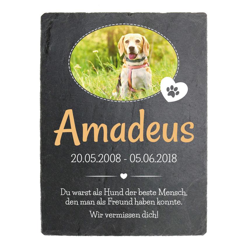 Grabsteinplatte aus Schiefer zum Gedenken an Haustier mit Foto 150 x 200 mm - Hochformat mit ovalem Foto