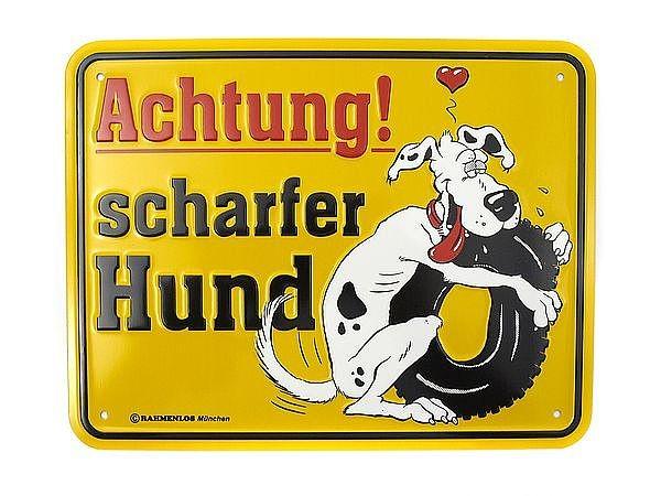 Funschild -ACHTUNG! Scharfer Hund- bei SchilderShop