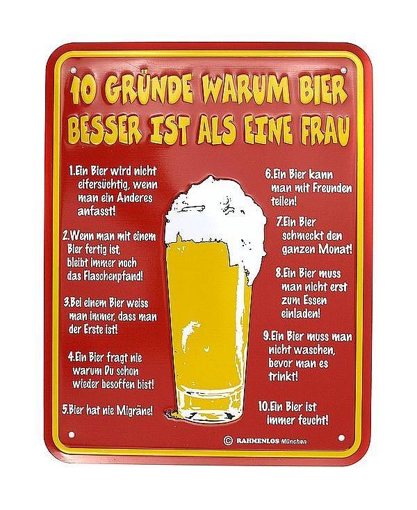 Funschild 10 Gründe warum Bier besser ist als eine Frau