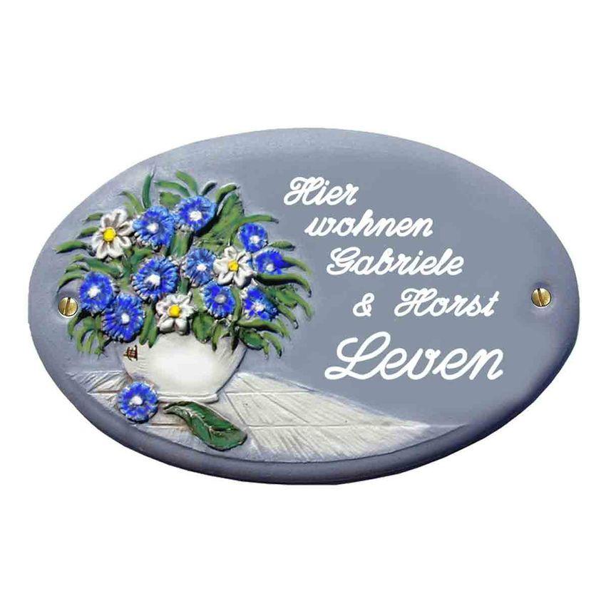 Keramik - Türschild Klassik Art in blaugrau