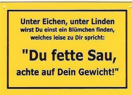 Schild als Postkarte mit Spruch Du fette Sau