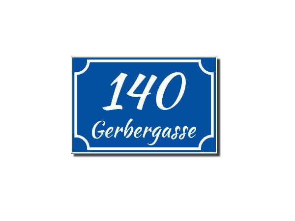 Hausnummer aus Dibond mit max. 5 Zeichen 210 x 140 mm