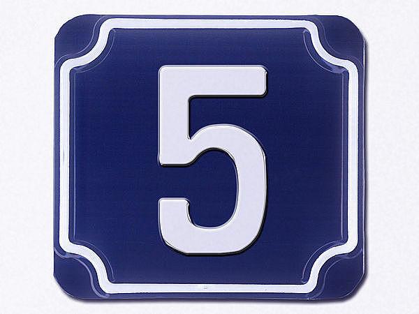 Geprägte einstellige Hausnummern in blau --- Ziffer 5 bei SchilderShop