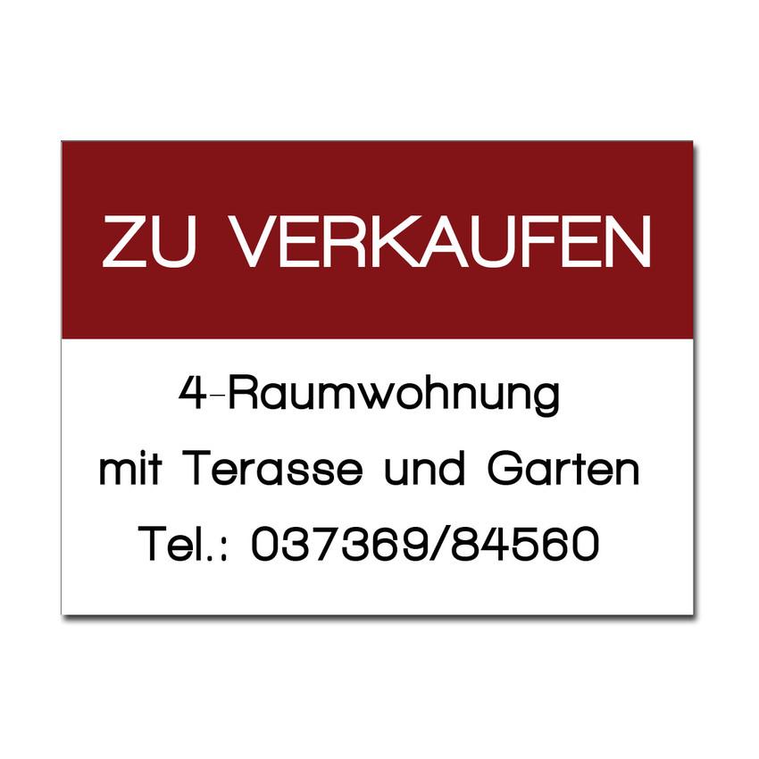 Verkaufschild für Wohnung aus Dibond Größe: 500 x 375 mm