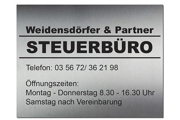 Edelstahl Firmeneingangsschild mit Wunschbeschriftung 550 x 420 mm