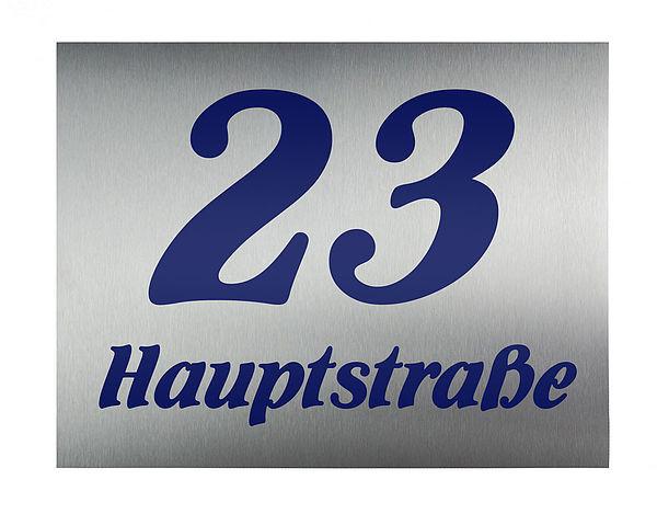 Hausnummer aus Edelstahl mit Nummer und Straßenname oder Familienname