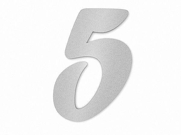 Edelstahl Hausnummer Ziffer 5 in Forte Schrift