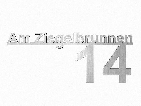 Hervorragend Edelstahl Hausnummer mit Straßenname - Design Minimal Art (Typ 5  DF88