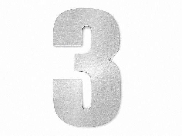 Moderne Edelstahl Hausnummer Ziffer 3 in Schrift Impact