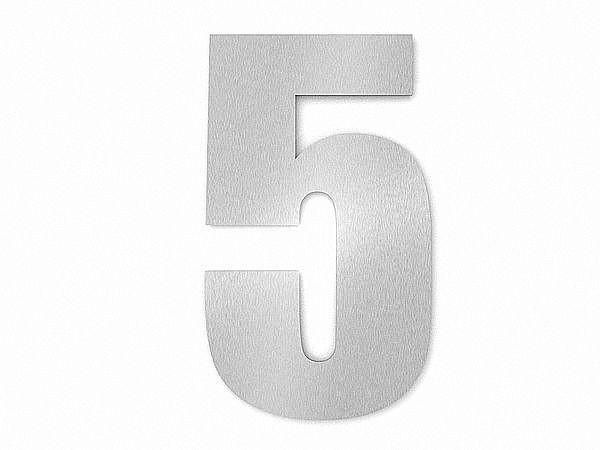 Moderne Edelstahl Hausnummer Ziffer 5 in Schrift Impact