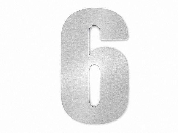 Moderne Edelstahl Hausnummer Ziffer 6 in Schrift Impact