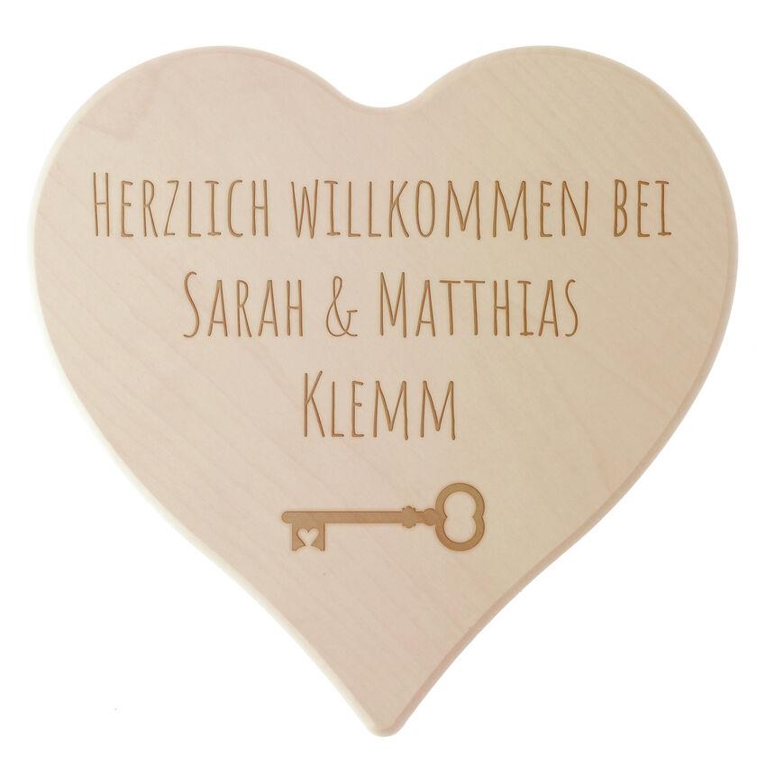 Holzschild Herzlich Willkommen mit Ihrem Wunschtext Größe 18 cm Gravur