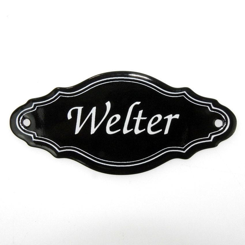 Nostalgisches Emaille Türschild mit 1-zeiligem Wunschtext