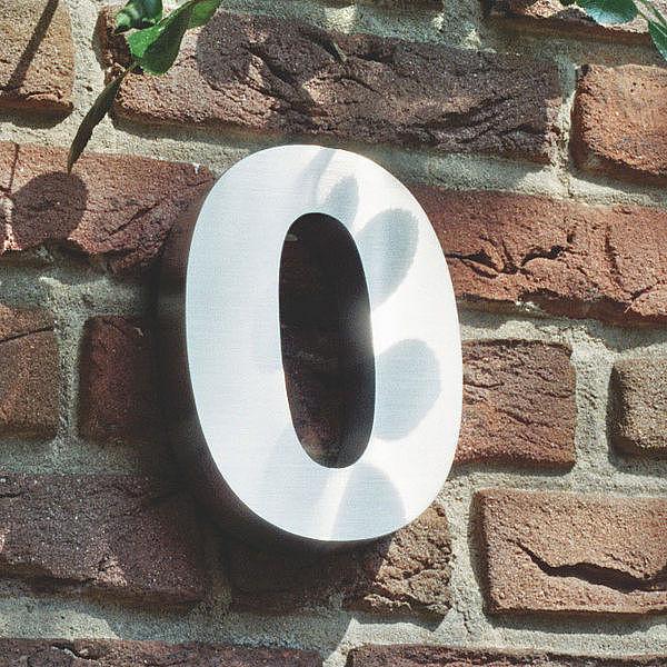 3D Hausnummer 0 aus Edelstahl - Höhe 160 mm Tiefe 30 mm