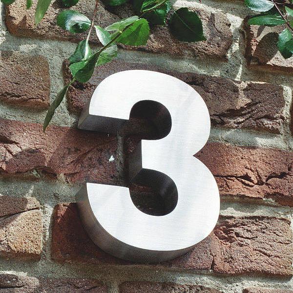3D Hausnummer 3 aus Edelstahl - Höhe 160 mm Tiefe 30 mm