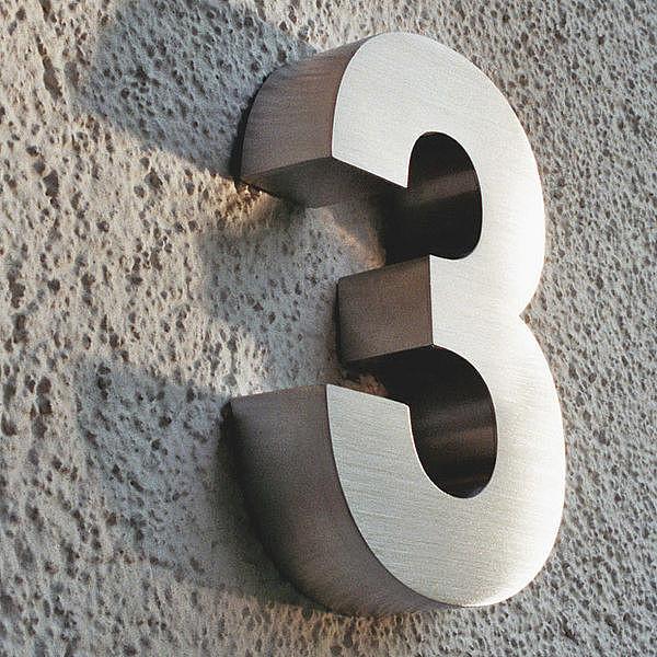 3d hausnummer 3 aus edelstahl h he 160 mm tiefe 30 mm hausnummern und schilder online kaufen. Black Bedroom Furniture Sets. Home Design Ideas
