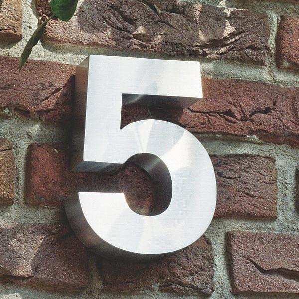3D Hausnummer 5 aus Edelstahl - Höhe 160 mm Tiefe 30 mm