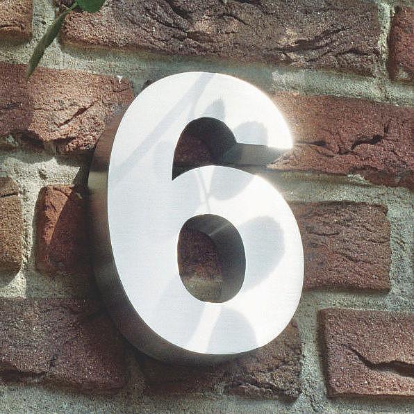 3D Hausnummer 6 aus Edelstahl - Höhe 160 mm Tiefe 30 mm