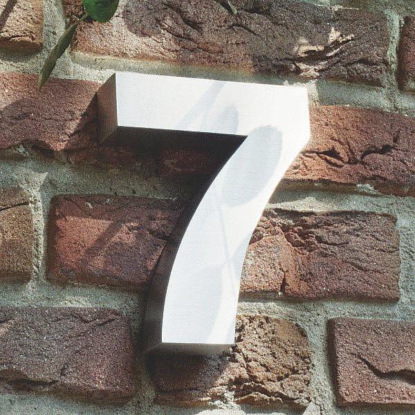 3D Hausnummer 7 aus Edelstahl - Höhe 160 mm Tiefe 30 mm