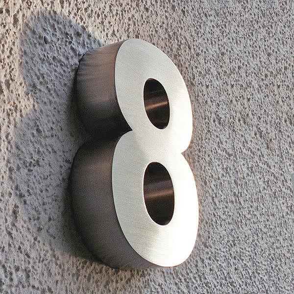 3D Hausnummer 8 aus Edelstahl - Höhe 160 mm Tiefe 30 mm ...