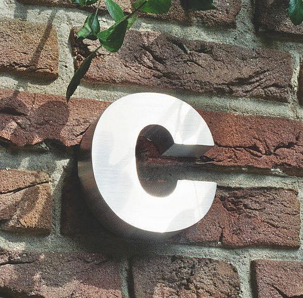 3D Kleinbuchstabe c aus Edelstahl - Höhe 160 mm und Tiefe 30 mm