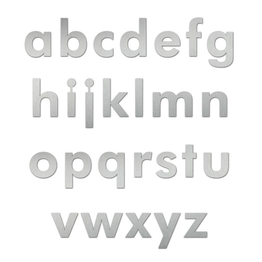 Edelstahl Kleinbuchstabe in der Schriftart Futura 180 mm bei SchilderShop