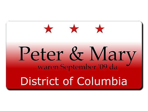 Washington D.C. USA - Kennzeichen mit Wunschtext bedruckt