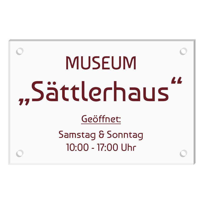 Schild aus Acrylglas mit Wunschtext - Größe 300 x 200 mm [mittel]