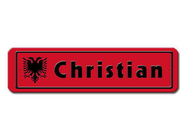 Namensschild mit albanischer Flagge und Ihrem Wunschtext