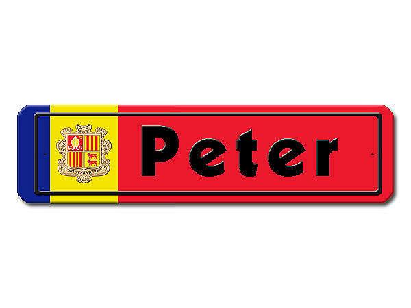 Namensschild mit Andorra - Flagge und Ihrem Wunschtext
