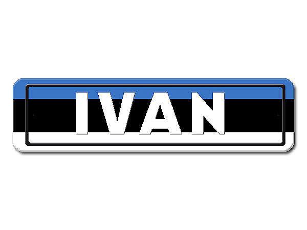 Namensschild mit Estland - Flagge und Ihrem Wunschtext