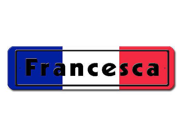 Namensschild mit französischer Flagge und Ihrem Wunschtext