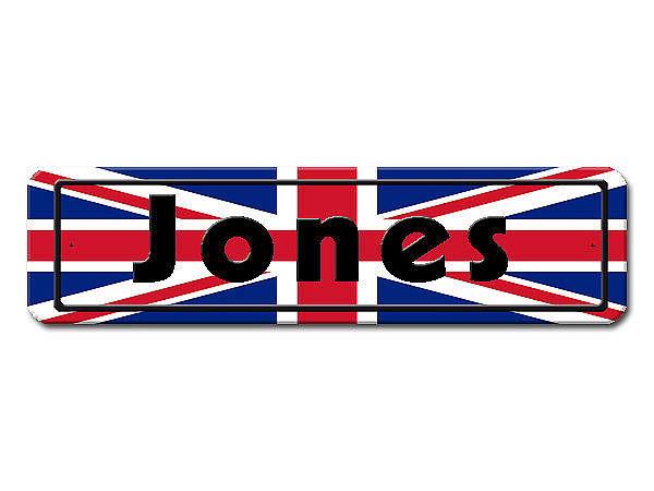 Namensschild mit Großbritannien - Flagge und Ihrem Wunschtext
