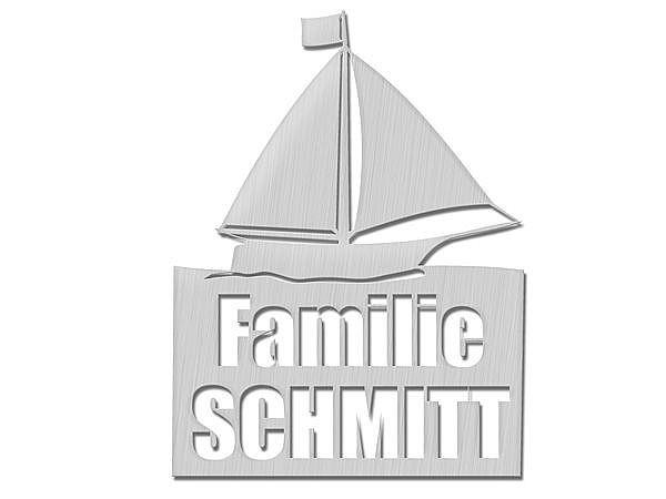 Originelles Edelstahl-Türschild mit Segelschiffmotiv Typ 23 bei SchilderShop