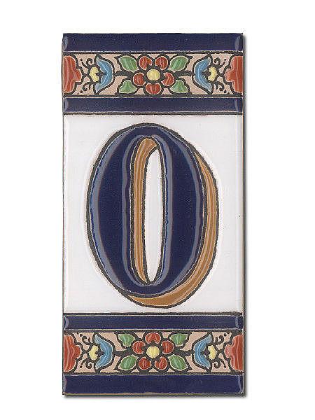 Spanische Hausnummer aus Keramik-Fliesen - Ziffer 0