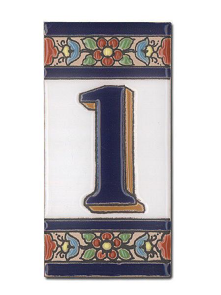 Spanische Hausnummer aus Keramik-Fliesen - Ziffer 1