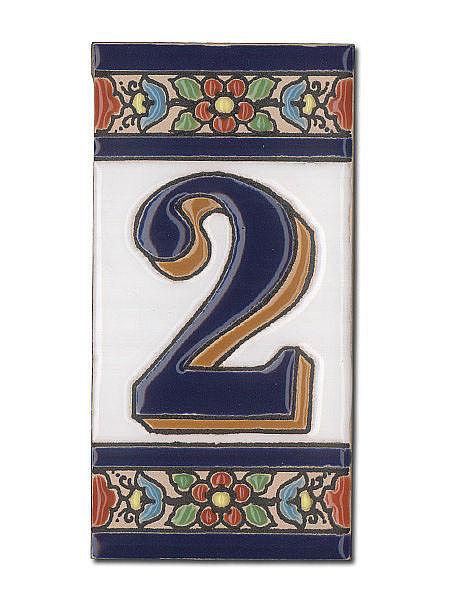 Spanische Hausnummer Aus Keramik Fliesen   Ziffer 2   Hausnummern Und  Schilder Online Kaufen