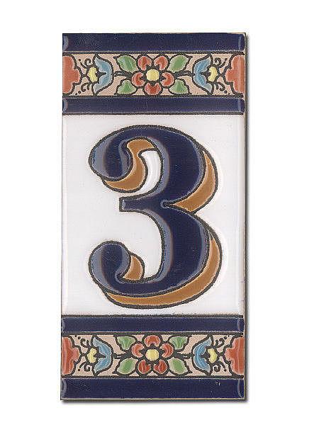 Spanische Hausnummer aus Keramik-Fliesen - Ziffer 3
