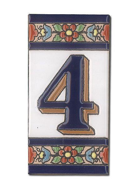 Spanische Hausnummer aus Keramik-Fliesen - Ziffer 4