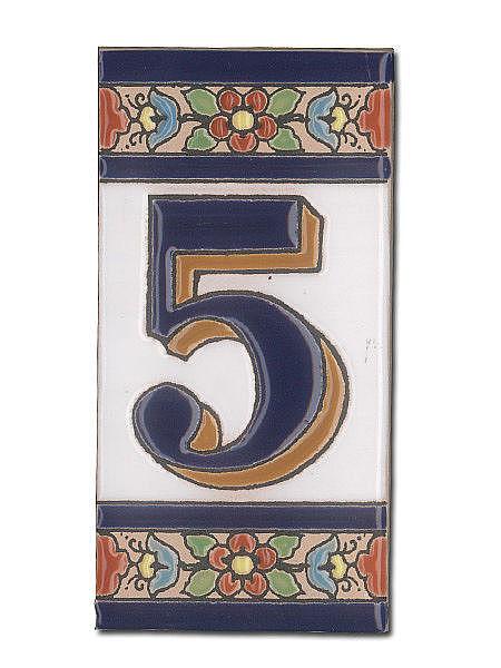 Spanische Hausnummer aus Keramik-Fliesen - Ziffer 5