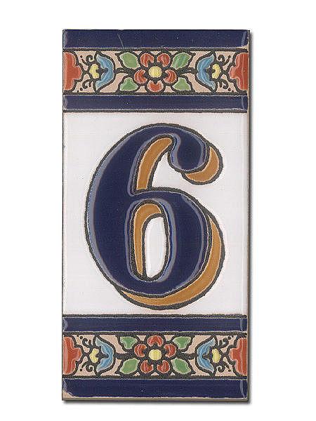 Spanische Hausnummer aus Keramik-Fliesen - Ziffer 6