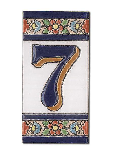 Spanische Hausnummer aus Keramik-Fliesen - Ziffer 7