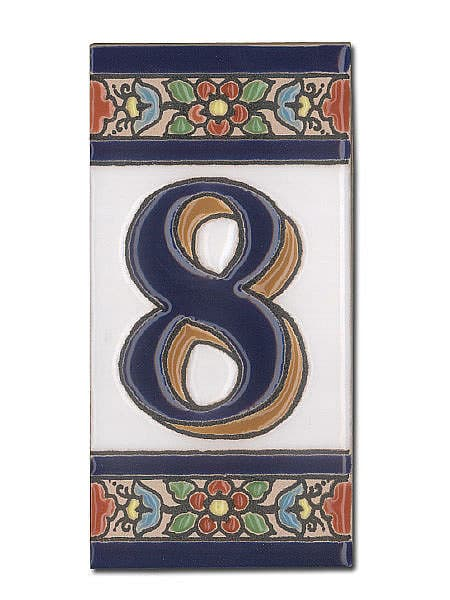 Spanische Hausnummer aus Keramik-Fliesen - Ziffer 8