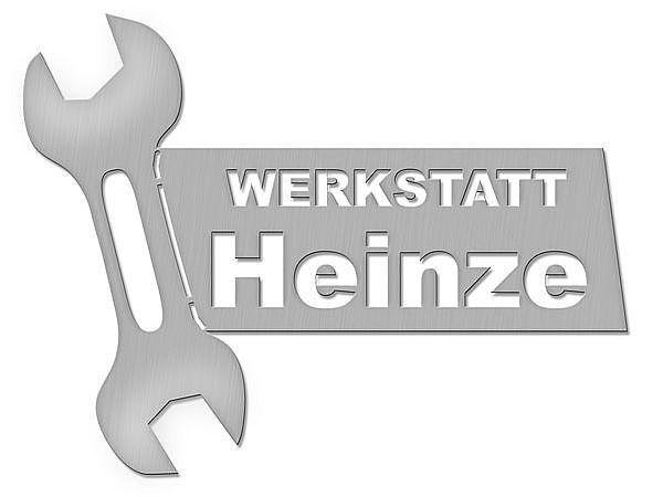 Edelstahl Türschild mit Firmennamen und Motiv Werkzeug Typ 31