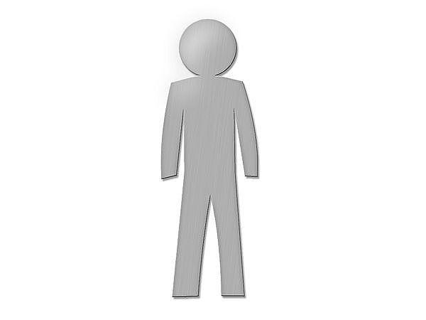 Edelstahl-Toilettenschild Herren - Höhe: 18 cm