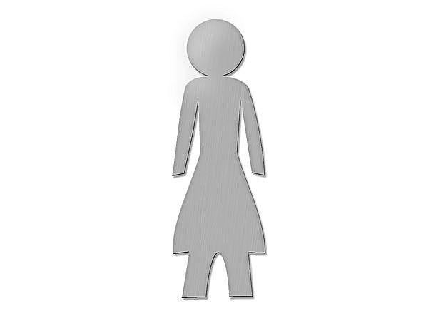 Edelstahl-Toilettenschild Damen - Höhe: 18 cm