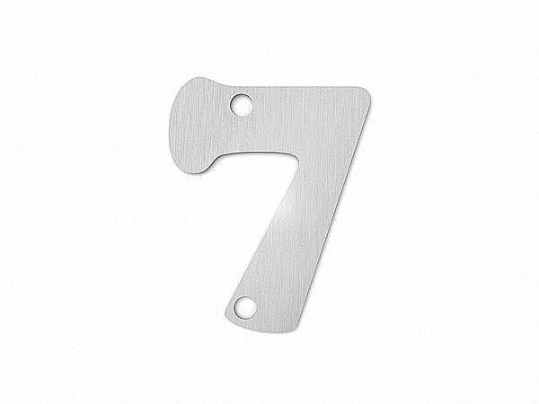Kleine Edelstahl Hausnummer 7 in der Schriftart Copper