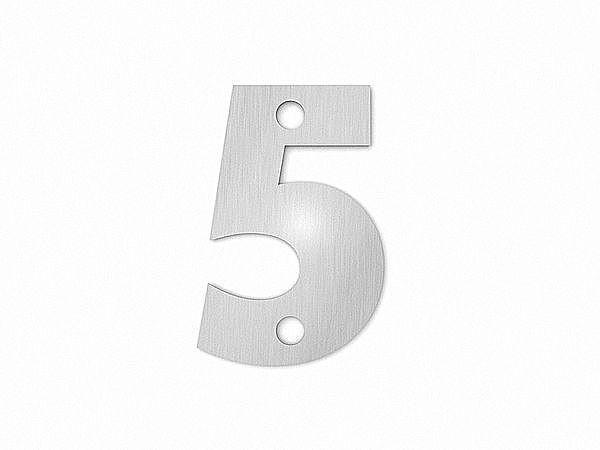 Kleine Hausnummer 5 in der Schriftart Classic aus Edelstahl